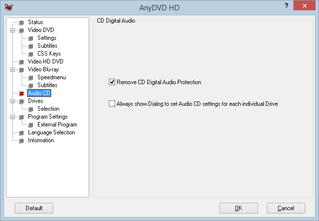 CD Digital Audio Settings
