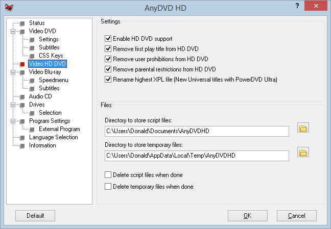 Video HD DVD Settings